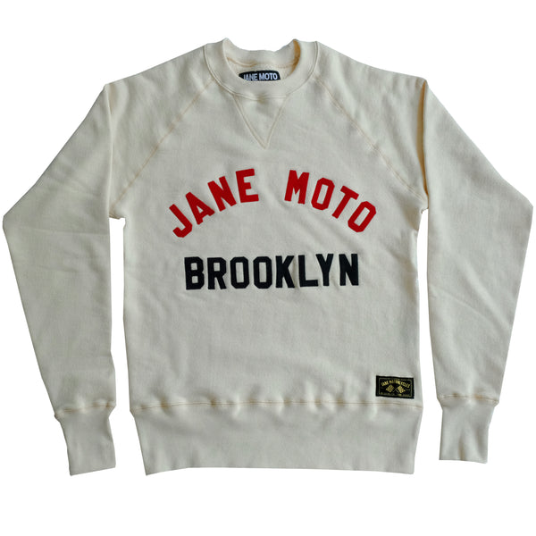 JANE ORGANIC COTTON CREWNECK SWEATSHIRT with FELT LETTERING - NATURAL