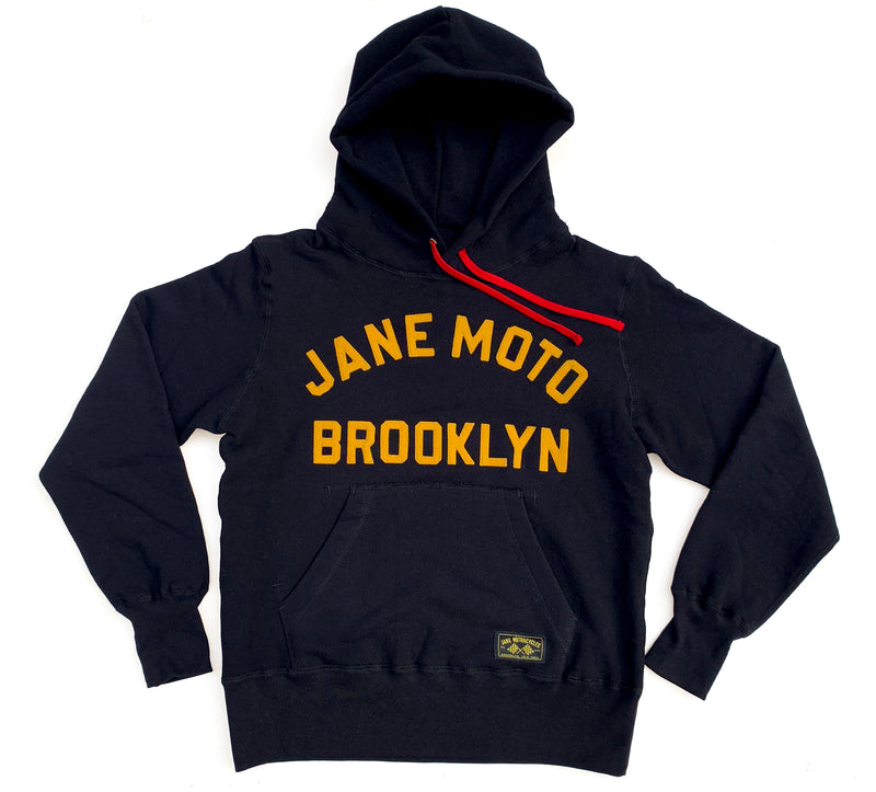 JANE ORGANIC COTTON HOODED SWEATSHIRT with GOLD FELT LETTERING - BLACK