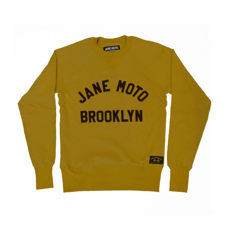 JANE ORGANIC COTTON CREWNECK SWEATSHIRT with BROWN LETTERING - MUSTARD