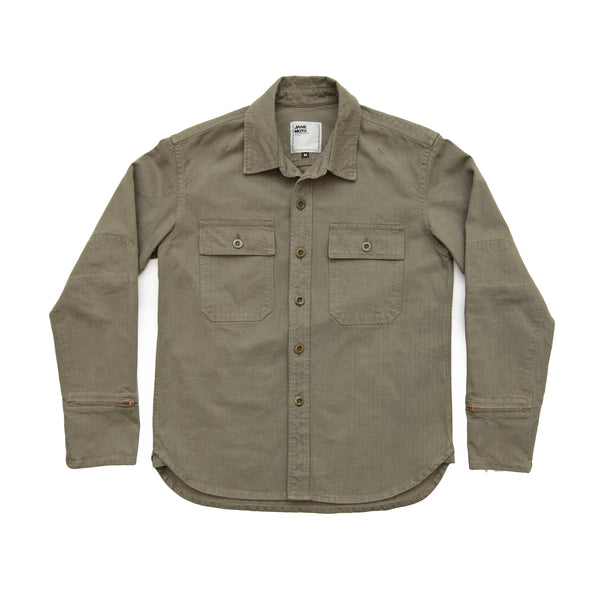THE FLYING TIGER MERCER CPO Riding Shirt - Olive Herringbone