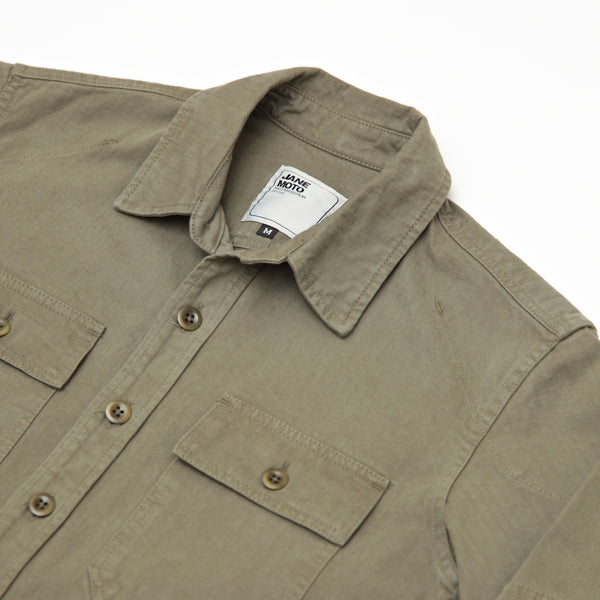 THE MERCER CPO Riding Shirt - Olive Herringbone