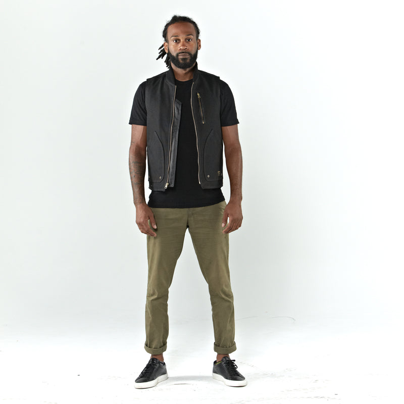 THE BQE Heavyweight Waxed Canvas Vest - Black