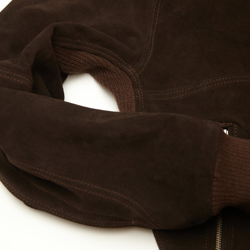 THE MARCY Suede Bomber - CHOCOLATE