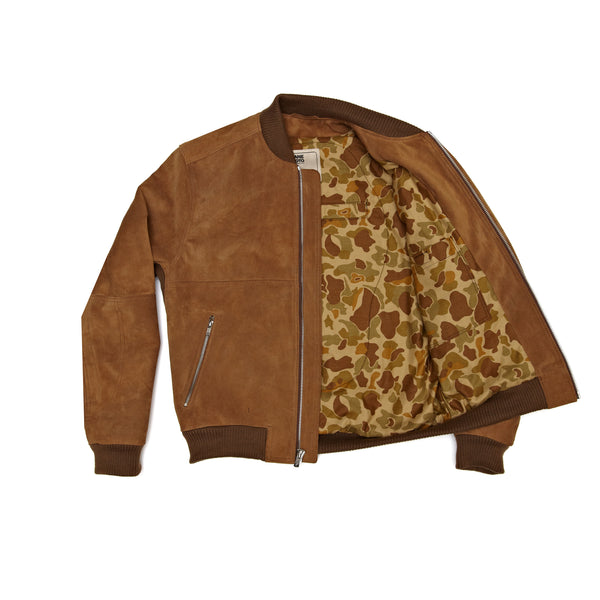 THE MARCY Suede Bomber - TAN
