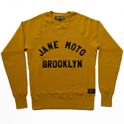JANE ORGANIC COTTON CREWNECK SWEATSHIRT with BLACK LETTERING - MUSTARD