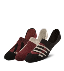 3-Pack Low Cut Socks - Ruby Geo Shapes