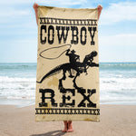 Mike Harris, Cowboy Rex - Dinosaurs And Cowboys - Beach Towel