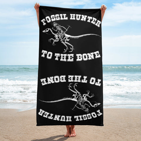 Fossil Hunter to the Bone - Beach Towel