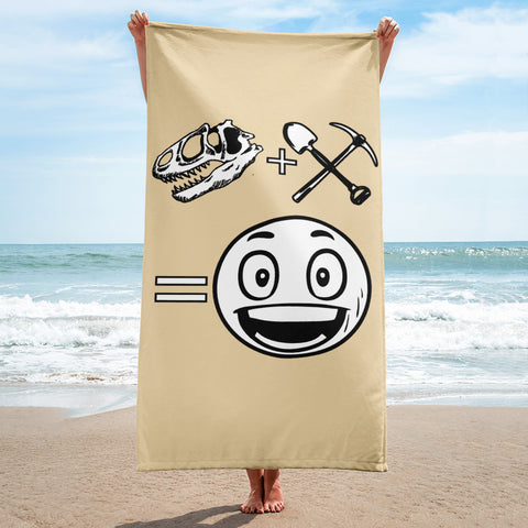 Happy Fossil Hunter - Beach Towel