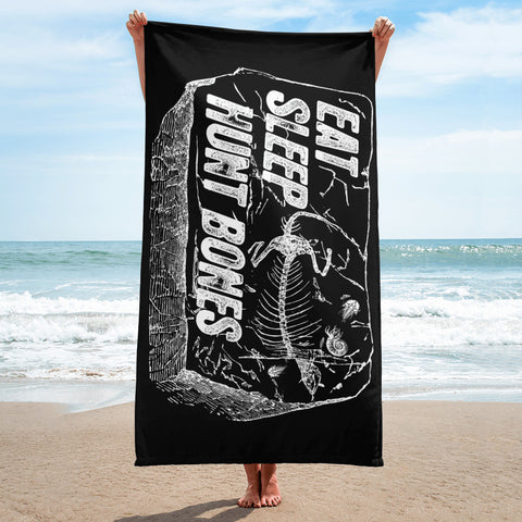 Eat Sleep Hunt Bones - Beach Towel