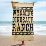 Wyoming Dinosaur Ranch - Dinosaurs And Cowboys - Beach Towel