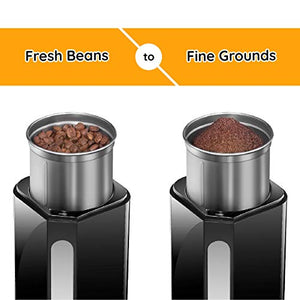 New House Kitchen Blade Coffee Grinder 250-Watt Electric Mill Freshly 2.5 oz Beans, Easy Push Start Button for Fine to Coarse, Removable Dishwasher Safe Stainless-Steel Grinding Cup, Black