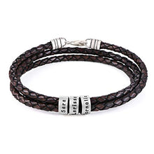 Load image into Gallery viewer, Handmade Custom Made Men's Genuine Brown Leather Bracelet with Small Custom Beads in Sterling Silver - Personalized Man Father's Day Jewelry Gift for Him Dad Grandfather Husband