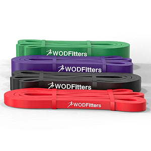 WODFitters Stretch Resistance Pull Up Assist Band with eGuide, 4 Band Set