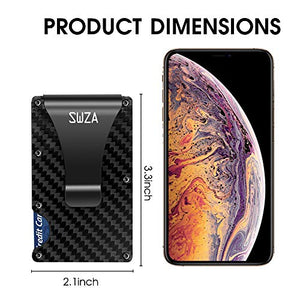 SWZA Carbon Fiber Minimalist Wallet for Men - RFID Blocking Credit Card Holder Metal Wallet- Money Clip Slim Front Pocket (Carbon Fiber Wallet)