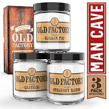 Load image into Gallery viewer, Old Factory Scented Candles for Men - Man Cave - Decorative Aromatherapy - Handmade in The USA with Only The Best Fragrance Oils - 3 x 4-Ounce Soy Candles