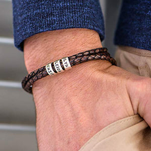 Handmade Custom Made Men's Genuine Brown Leather Bracelet with Small Custom Beads in Sterling Silver - Personalized Man Father's Day Jewelry Gift for Him Dad Grandfather Husband