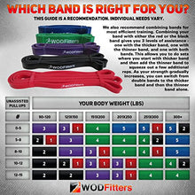 Load image into Gallery viewer, WODFitters Stretch Resistance Pull Up Assist Band with eGuide, 4 Band Set