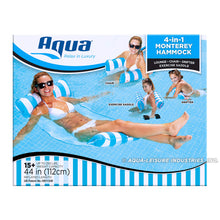Load image into Gallery viewer, Aqua 4-in-1 Monterey Hammock Inflatable Pool Float, Multi-Purpose Pool Hammock (Saddle, Lounge Chair, Hammock, Drifter) Pool Chair, Portable Water Hammock, Light Blue/White Stripe