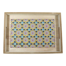 Load image into Gallery viewer, Set of 2 Rectangular Wooden Geometric Inlay Pattern Iftar Serving Trays