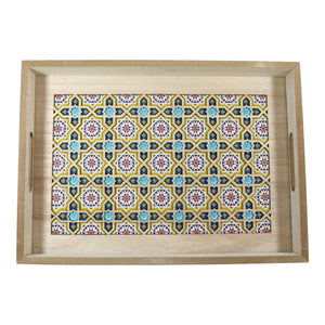 Set of 2 Rectangular Wooden Geometric Inlay Pattern Iftar Serving Trays