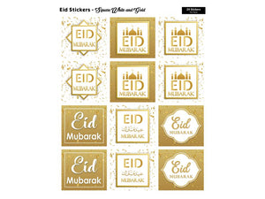 Eid Mubarak Square Stickers (White/Gold)
