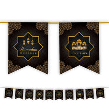 Load image into Gallery viewer, Ramadan Mubarak Decoration Set - Black & Gold Lanterns Design