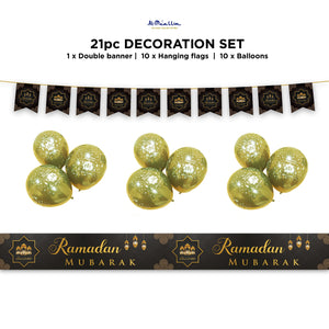 Ramadan Mubarak Decoration Set - Black & Gold Lanterns Design