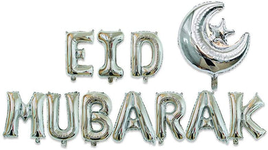 Moon and Star Eid Mubarak Foil Balloons - Silver