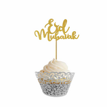 Load image into Gallery viewer, Eid Mubarak Cupcake Toppers (Pack of 10) - Gold