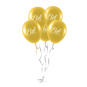 Eid Mubarak Balloons (Pack of 10) - Gold