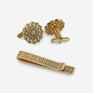 Cufflink and Tie Clip Gift Set - Gold