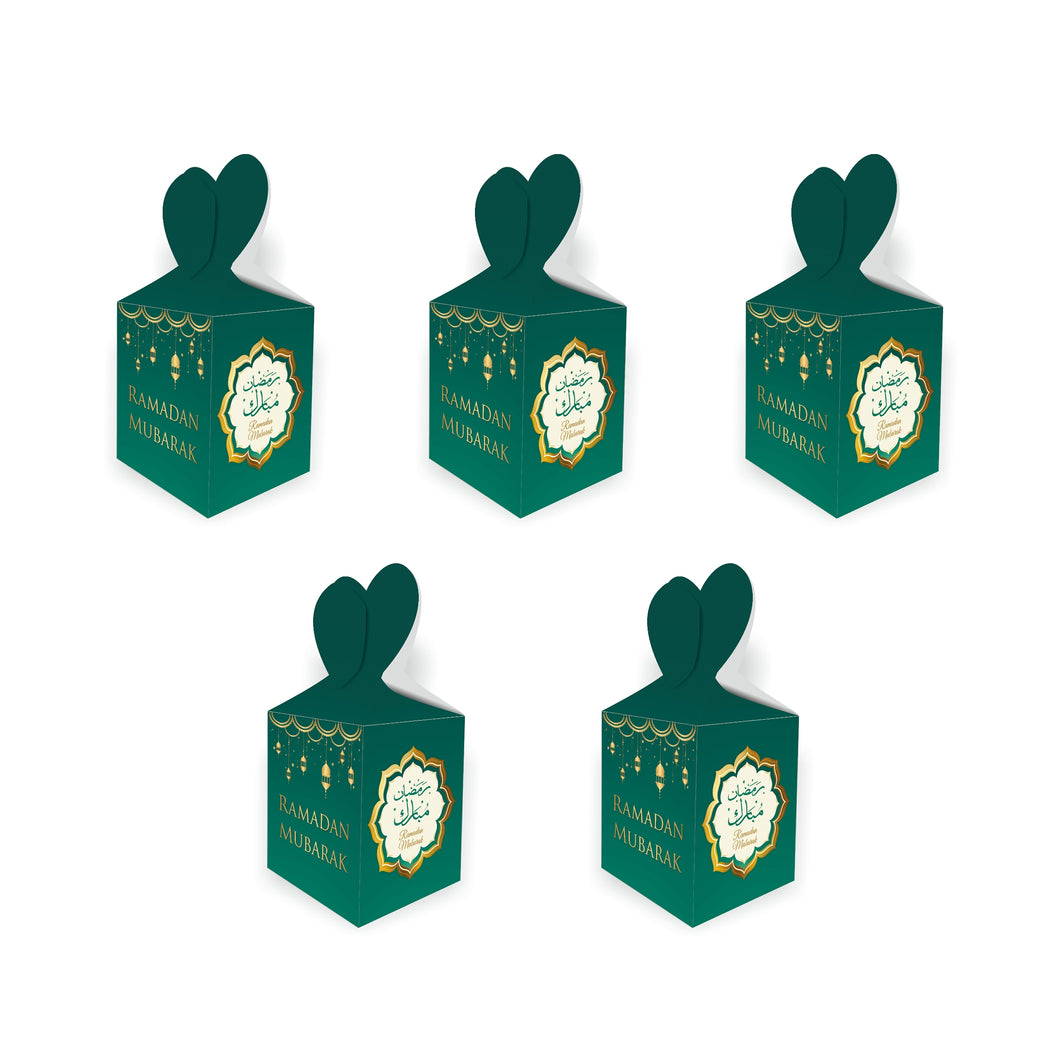 Ramadan Mubarak Gift Boxes - (5 boxes) Green & Gold Lanterns Design