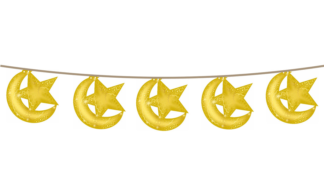 Hanging Moon & Star Bunting Decoration (Ramadan & Eid)