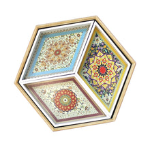 Load image into Gallery viewer, Wooden Hexagonal Floral Pattern 4-Piece Eid & Ramadan Food Serving Tray