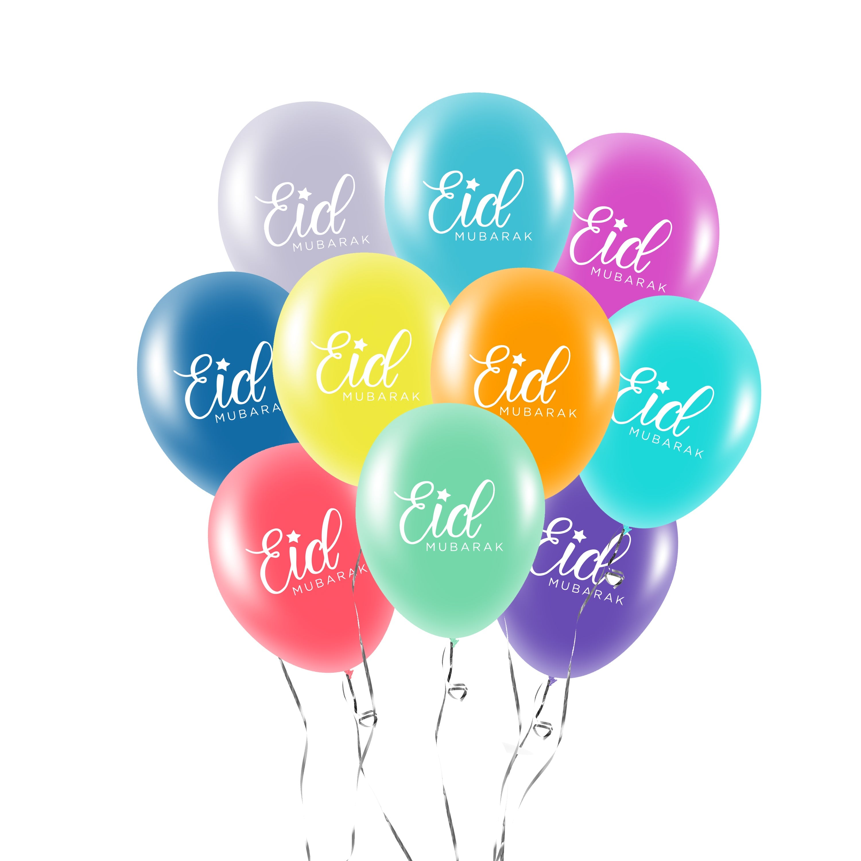Eid Mubarak Balloons Pack Of 10 Multicolour Mm Salam Occasions