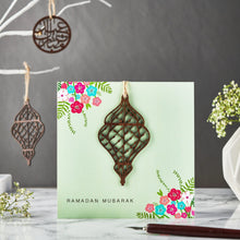 Load image into Gallery viewer, Ramadan Mubarak Card - Laser Cut Wooden Lantern