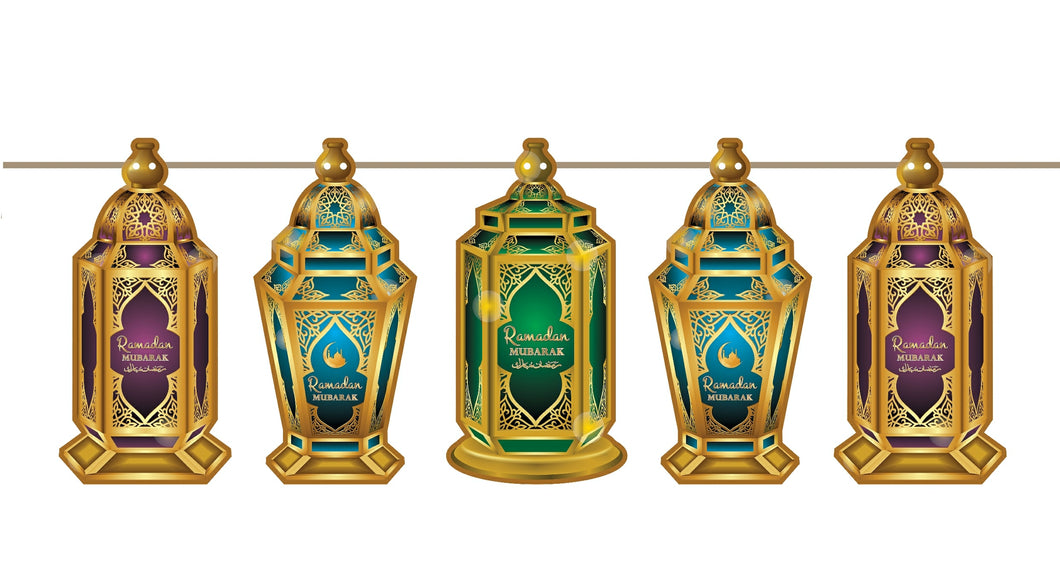 Ramadan Mubarak Hanging Lanterns Bunting Decoration