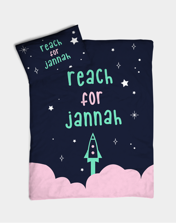 Reach for Jannah Bedding - Pink (Cotbed Size)
