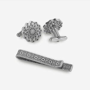 Cufflink and Tie Clip Gift Set - Silver