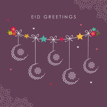 Load image into Gallery viewer, Eid Mubarak Card - Eid Greetings - Mauve Crescents