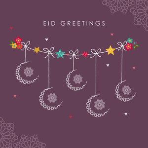 Eid Mubarak Card - Eid Greetings - Mauve Crescents
