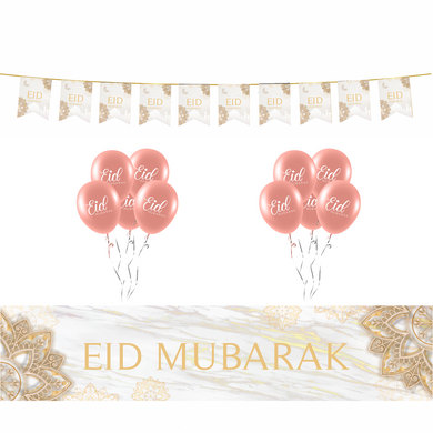 White & Gold Eid Mubarak Marble Decoration Set