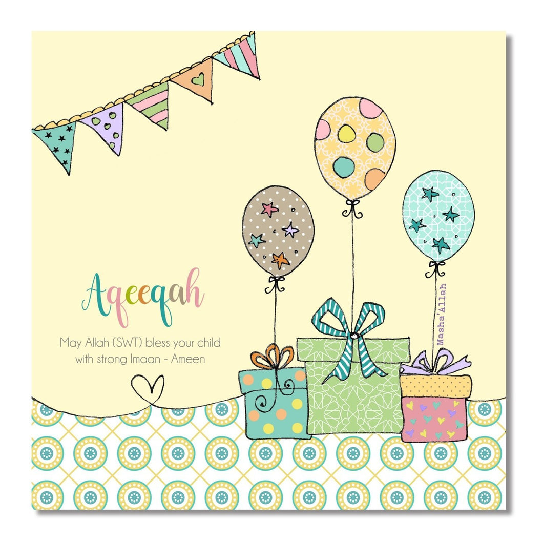 Aqeeqah New Baby Card - Yellow Balloons - Salam Occasions - Islamic Moments