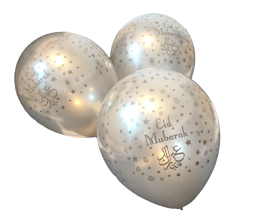 Eid Mubarak Balloons - Silver - 10 pack - Salam Occasions - Islamic Moments