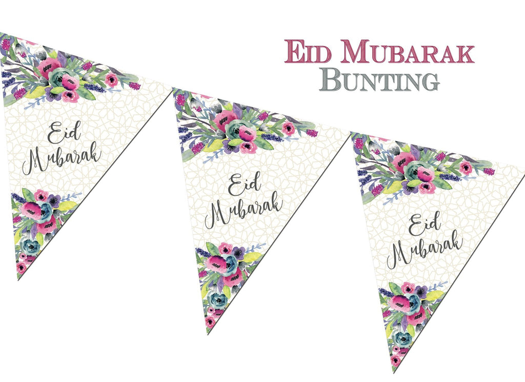 Eid Mubarak Bunting - Watercolour - Salam Occasions - Islamic Moments
