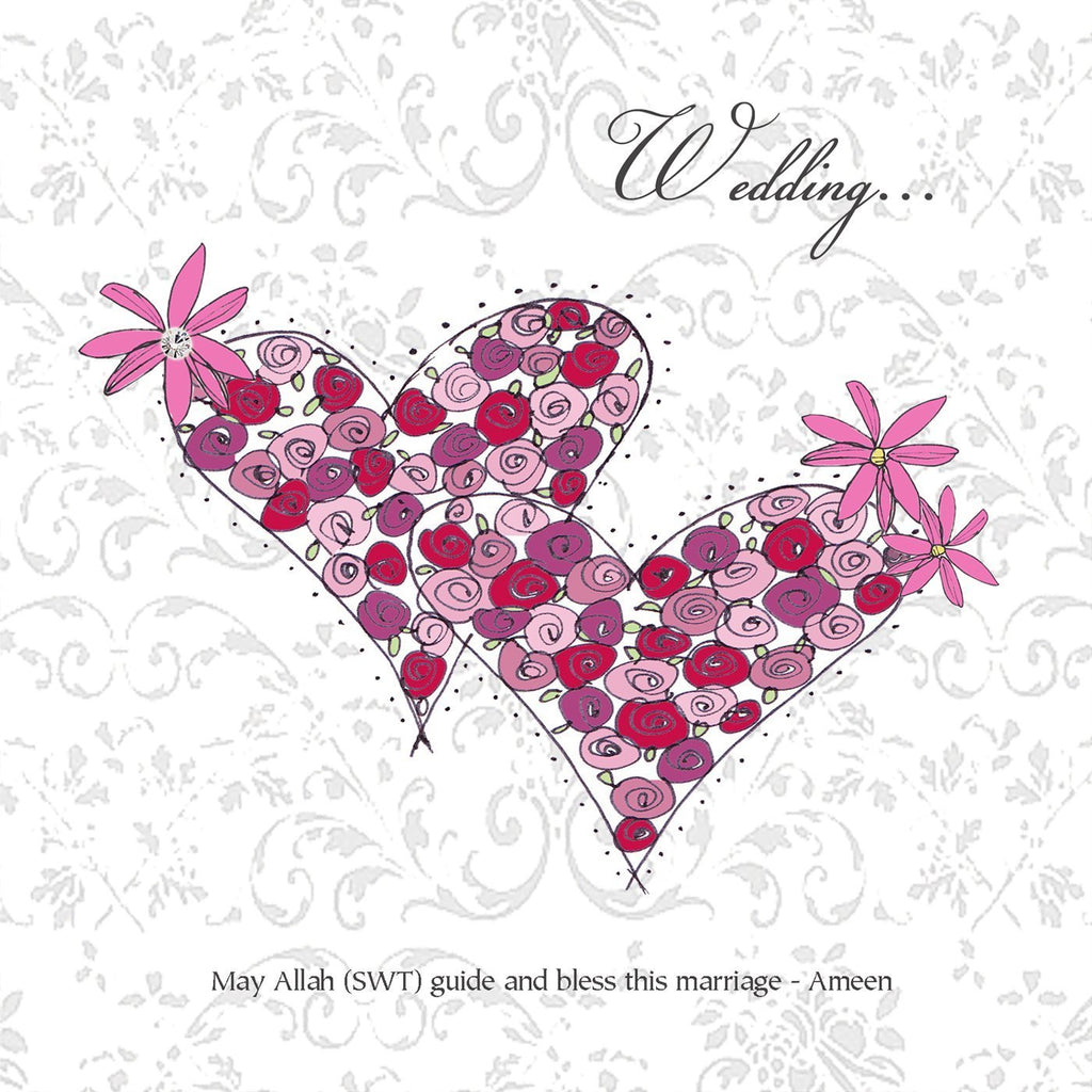 Islamic Wedding Card - Floral Love Hearts - Salam Occasions - Islamic Moments