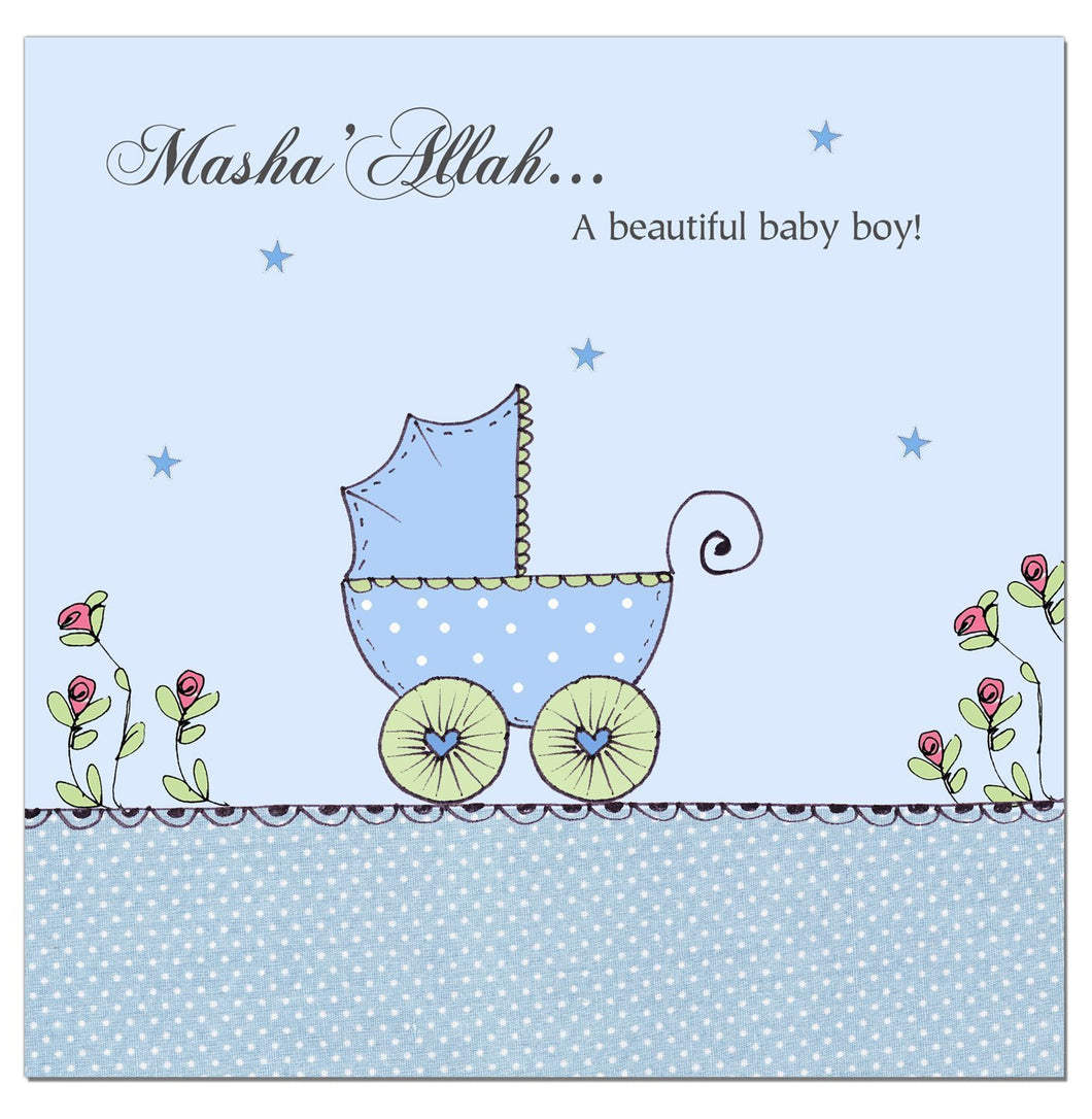 Mashallah New Baby Boy Card - Blue Pram - Salam Occasions - Islamic Moments