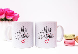 Mr Habibi and Mrs Habibti Mug Set - Salam Occasions - Islamic Moments