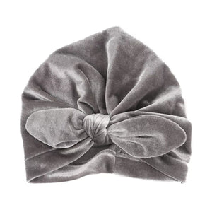 My Mini Bubba - Grey Velour Turban Hat